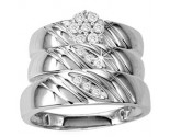 Three Piece Wedding Set 10K White Gold 0.25 cts. GS-20201
