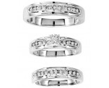 Three Piece Wedding Set 10K White Gold 0.25 cts. GS-20212