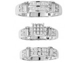Three Piece Wedding Set 14K White Gold 1.50 ctS. GS-20275