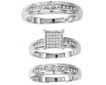 Three Piece Wedding Set 10K White Gold 0.33 cts. GS-20715