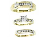 Three Piece Wedding Set 10K Two Tone Gold 0.50 cts. GS-20828