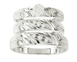 Three Piece Wedding Set 10K White Gold 0.16 cts. GS-20839