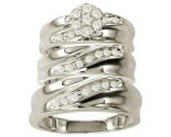 Three Piece Wedding Set 10K White Gold 0.50 cts. GS-20841