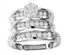 Three Piece Wedding Set 10K White Gold 0.80 cts. GS-21806