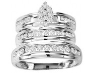 Three Piece Wedding Set 10K White Gold 1.00 ct. GS-21826 [GS-21826]