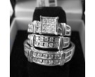 Three Piece Wedding Set 14K White Gold 1.20 cts. JJ-20275