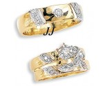 Three Piece Wedding Set 14K Two-Tone Gold 0.25 cts. JRX-10264