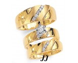 Three Piece Wedding Set 14K Two-Tone Gold 0.45 cts. JRX-11263