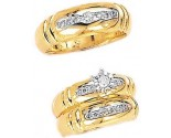 Three Piece Wedding Set 14K Two-Tone Gold 0.75 cts. JRX-2264
