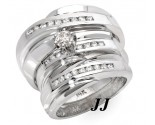 Three Piece Wedding Set 14K White Gold 0.75 cts. JRX-27261