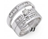 Three Piece Wedding Set 14K White Gold 0.85 cts. JRX-27263