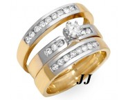 Three Piece Wedding Set 14K Two Tone Gold 0.85 cts. JRX-27264 [JRX-27264]