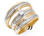 Three Piece Wedding Set 14K Two Tone Gold 0.95 cts. JRX-27265