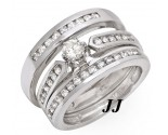 Three Piece Wedding Set 14K White Gold 0.95 cts. JRX-27267