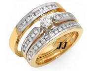 Three Piece Wedding Set 14K Two Tone Gold 0.95 cts. JRX-27268 [JRX-27268]