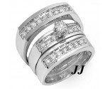 Three Piece Wedding Set 14K White Gold 0.85 cts. JRX-27271