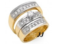Three Piece Wedding Set 14K Two Tone Gold 0.85 cts. JRX-27272