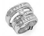 Three Piece Wedding Set 14K White Gold 0.85 cts. JRX-27273