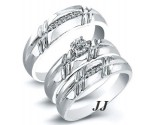 Three Piece Wedding Set 14K White Gold 0.22 cts. JRX-28264