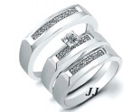 Three Piece Wedding Set 14K White Gold 0.22 cts. JRX-28266