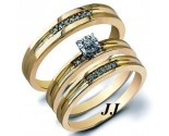 Three Piece Wedding Set 14K Yellow Gold 0.22 cts. JRX-28277
