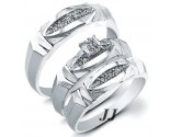 Three Piece Wedding Set 14K White Gold 0.22 cts. JRX-28280