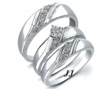 Three Piece Wedding Set 14K White Gold 0.22 cts. JRX-28290