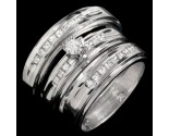 Three Piece Wedding Set 14K White Gold 0.95 cts. JRX-29160