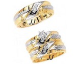 Three Piece Wedding Set 14K Two-Tone Gold 0.39 cts. JRX-8260