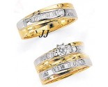 Three Piece Wedding Set 14K Two-Tone Gold 0.75 cts. JRX-8262