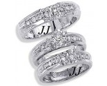Three Piece Wedding Set 14K White Gold 0.65 cts. JRX-9262