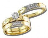 Three Piece Wedding Set 14K Two Tone Gold 0.20 cts. S20-13