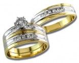 Three Piece Wedding Set 14K Two Tone Gold 0.60 cts. S20-15