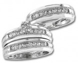 Three Piece Wedding Set 14K White Gold 0.80 cts. S20-9