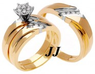 Three Piece Wedding Set 14K Two Tone Gold 0.55 cts. TSSD-182