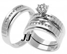 Three Piece Wedding Set 14K White Gold 1.10 cts. TSSD-183