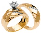 Three Piece Wedding Set 14K Yellow Gold 0.34 cts. TSSD-204
