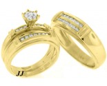 Three Piece Wedding Set 14K Yellow Gold 1.55 cts. TSSD-207