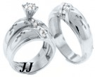 Three Piece Christian Wedding Set 14K White Gold 0.85 cts. TSSD-218