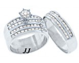Three Piece Wedding Set 14K White Gold 2.50 cts. TSSD-504