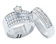 Three Piece Wedding Set 14K White Gold 2.50 cts. TSSD-504 [TSSD-504]