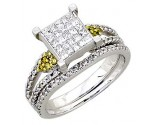 Ladies Two Piece Set 14K White Gold 0.90 cts. A62-R0452-WY