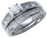 Diamond Bridal Ring Set 14K White Gold 1.00 ct. CL-13173