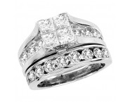 Diamond Bridal Ring Set 14K White Gold 1.00 ct. CL-16373