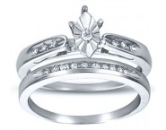Ladies Two Piece Set 10K White Gold 0.10 cts. CL-16599 [CL-16599]