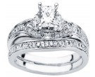 Diamond Bridal Ring Set 14K White Gold 0.87 cts. CL-32704