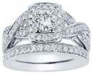 Diamond Bridal Ring Set 14K White Gold 1.02 cts. CL-33538
