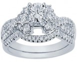 Diamond Bridal Ring Set 14K White Gold 0.92 cts. CL-33541