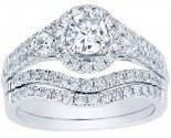 Diamond Bridal Ring Set 14K White Gold 1.40 cts. CL-33572