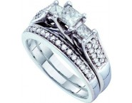 Ladies Two Piece Set 3-Stone 14K White Gold 1.02 cts. GD-29467